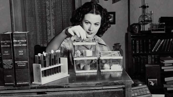 Hedy Lamarr developing her technology