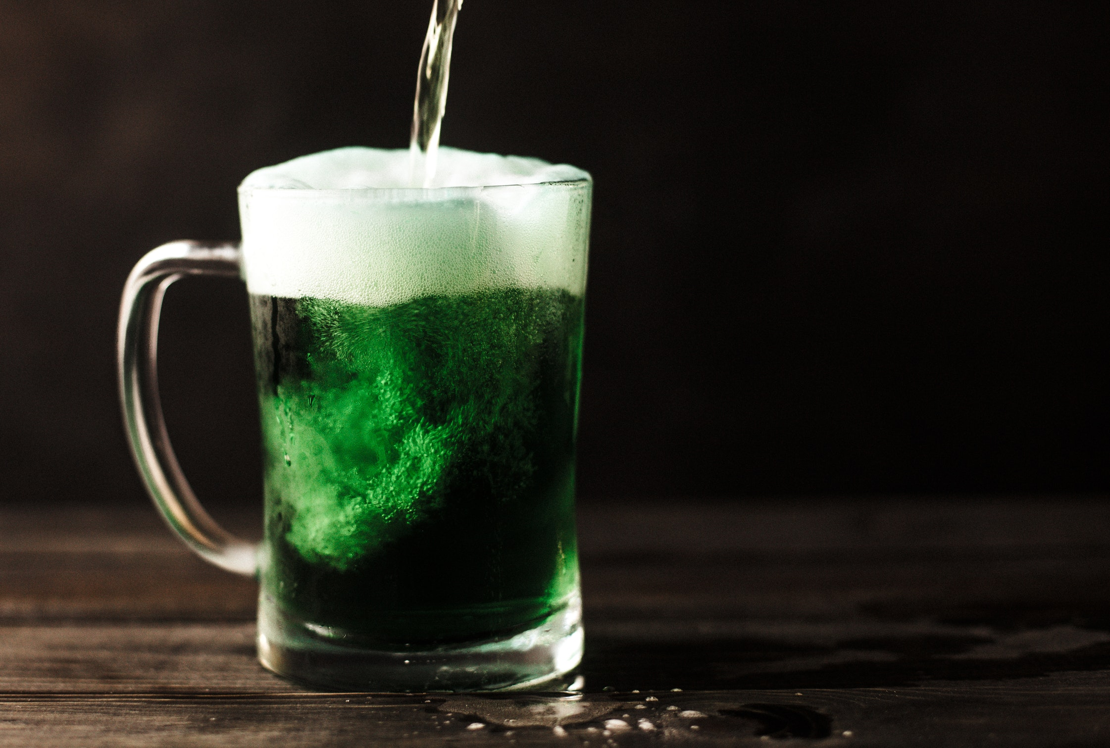 Pint of green alcohol